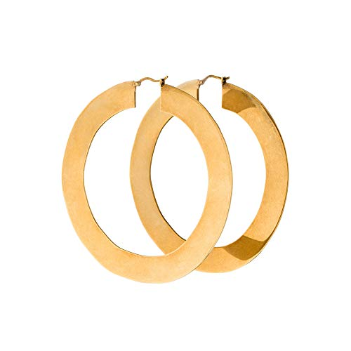 """Minimal Bohemian 18K Gold Plated Large Round Hoop Earrings for Women Boho Jewelry Thick Wire (Big Size - 2.32"""")"""