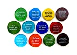 Your future is what you make it, these twelve inspiring glass stones can help. Makes a thoughtful gift of comfort and motivation for yourself or a friend. Create the life you've always imagined. Positive reinforcement works. Colors will vary. They wi...