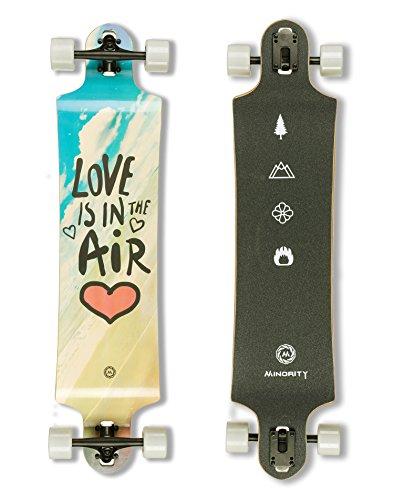 MINORITY Downhill Maple Longboard Skateboard | 40-inch Drop Trough Deck | Made for Cruising Ride (Love)