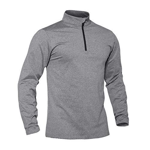 TACVASEN T-shirt de course à pied léger à manches longues pour homme XXL gris clair