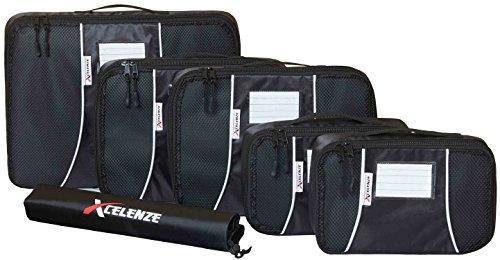 Xcelenze - Premium Kleidertaschen Packtaschen Koffer 6-teiliges Set + Beschriftungsfenster, schwarz | Reisetasche Kofferorganizer Koffertasche Packing Cubes Packwürfel + Wäschebeutel