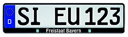 Nashville print factory 1 Paar Kennzeichenhalter schwarz mit Bundesland Motiv Wappen bedruckt Kennzeichenhalterung Kennzeichenrahmen (Freistaat Bayern)