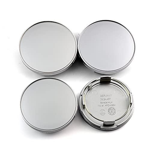 LINMAN 4pcs Llantas 70 mm 60 mm del Centro de Rueda Casquillos de Eje de la Cubierta, Compatible con RM RS CF CH CX RA VZ # 09.24.467# 09.24.486# 09.24.494# 56.24.1202 (Color : Silver)