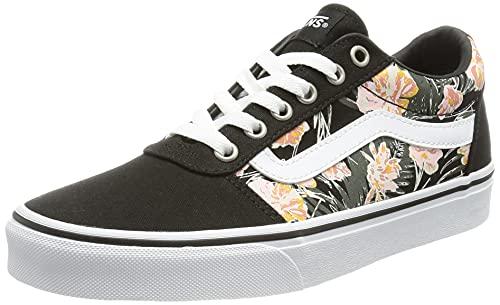 Vans Damen Ward Canvas Sneaker, Handflächen-Blumenmuster, Schwarz/Weiß, 39 EU