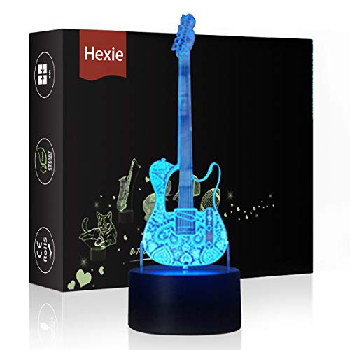 HeXie LED Night Lights 3D Illusion Bedside Table Lamp 16 Colours Changing Sleeping Lighting with Smart Touch Button Warming Present Creative Decoration Ideal Art and Crafts (Guitar)