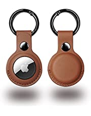 Protective Case for Apple AirTag, PU Leather Case with Key Chain for Backpacks, and Keys (BROWN)