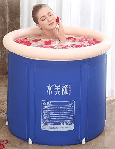 GYPPG Blue Bath Barrel Adult Home Tinas de baño de Hielo de Cuerpo Completo Baño Plegable Baño de Barril Inflable Tina de baño Engrosada Bañera de plástico Bañeras portátiles (tamaño: L)