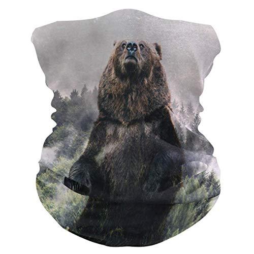 Diadema de animales salvajes, cara de oso con protección solar UV, máscara de cuello, bufanda mágica, bandana para la cabeza, pasamontañas para mujeres y hombres
