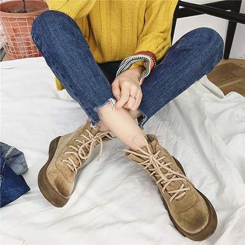 Shukun Stiefeletten Retro-Stil gewischt Baumwolle Innen Fleece Fleece Fleece Strap Gummi Weißhe Unterseite Martin Stiefel Kurze Stiefel Damen Stiefel Martin Stiefel  Willkommen zu kaufen
