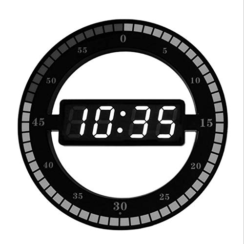 Quata Reloj de pared digital LED 3D con luz nocturna y luz nocturna redonda, ajuste automático, enchufe europeo