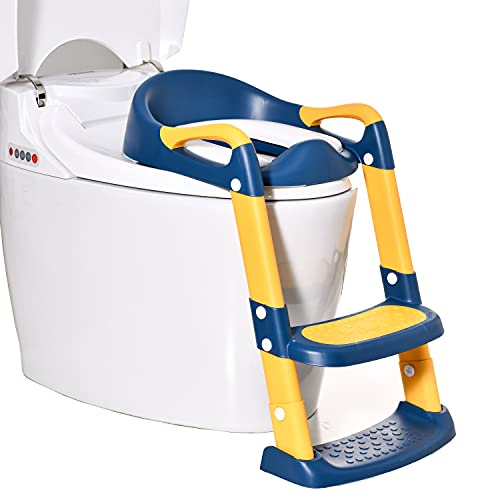 Potty Training Seat Toddler Toilet Seat with Adjustable Step Stools Ladder for Boys and Girls,Wiifo Non-Slip Children Potty Chair with Handles Portable Training Toilet Seat (Yellow and Blue)