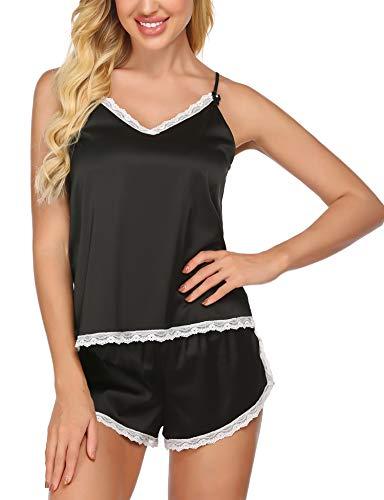 Ekouaer Womens Pajamas Classic Lace Trim Satin Cami Sets Sleepwear Exotic Lingerie Set (Black, Large)