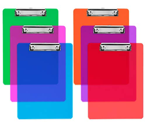 Plastic Clipboards (Set of 6) Multi Pack Clipboard (Colored Assorted) Strong 12.5 x 9 Inch | Holds 100 Sheets! Acrylic Clipboards with Low Profile Clip | Cute Clip Boards Board Clips