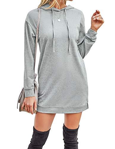 Edjude Hoodie Kleider Damen Lang Casual Kapuzenpullover Sweatshirt für Leggings mit Taschen Oberteil Frühling Herbst Grau L