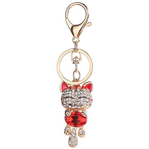LXJLXJ Gato Precioso Clave Rhinestone Cadenas de Cristal Colgante del Bolso del Llavero niñas Regalos de joyería Anillo dominante