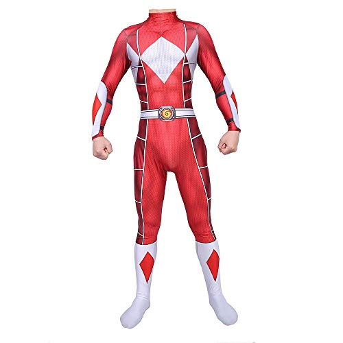 TOYSSKYR Power Rangers Cosplay Kostüm Körper Strumpfhose Halloween Bühnenshow Kostüm Requisiten (Color : Red, Size : XL)