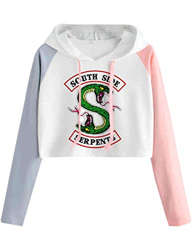 Riverdale Pullover Damen Bauchfrei, Teenager Mädchen Southside Serpents Patchwork Hoodie Pulli Spleißen Farbe Kapuzen Sweatshirt Kurz Crop Tops Kapuzenpullover Kapuzenpulli Oberteile Shirt (2, S)