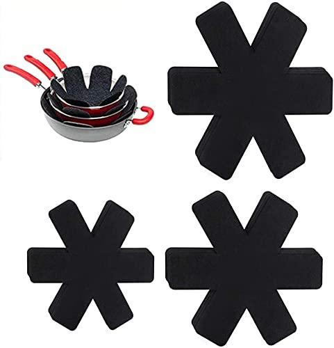 juego de 12 almohadillas protectoras para sartenes, protectores para cacerolas de fieltro, protección para superficies de ollas, (3 tamaños).