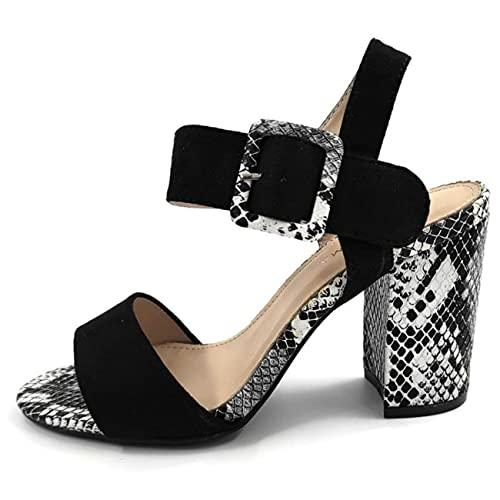 Zapatos Mujer Abiertos Tacón Ancho | Sandalias Tacón Ancho Serpiente | Moda Fiesta Verano 2021