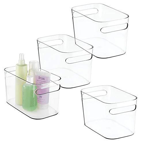 mDesign Juego de 4 cestas para baño de plástico – Práctica caja organizadora con asas – Organizador de baño para cosméticos, lociones, perfumes, etc. – También como toalleros de baño – transparente