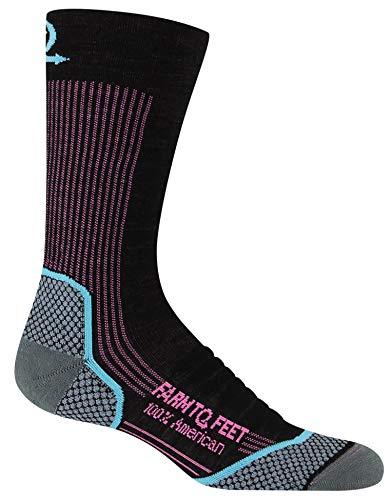 Farm to Feet Women's Damascus Lightweight Crew Merino Wool Socks, Black, Small