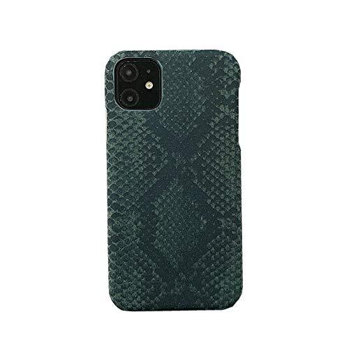 Exquisita apariencia Compatible con Iphone Caso 11 del teléfono móvil, diseño creativo original, la escala de color verde oscuro de la piel artificial Iphone 11 cubierta protectora del teléfono móvil