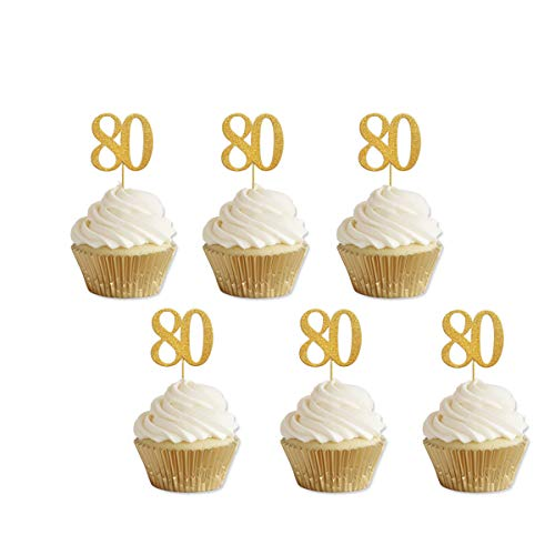 Gold Glitter 80th Birthday Cupcake Toppers Party Supplies Decorations 24 Counts, 80th birthday cake decorations