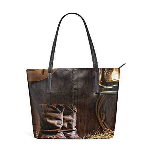 NR Multicolour Fashion Damen Handtaschen Schulterbeutel Umhängetaschen Damentaschen,Authentische Westernreitwerkzeuge beschuhen Weinlese-Ranch-Scheune mit nostalgischer Laterne
