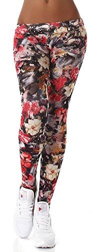 Q.A. Damen Leggings lang in verschiedenen Designvarianten, rot Blume Größe 38-42