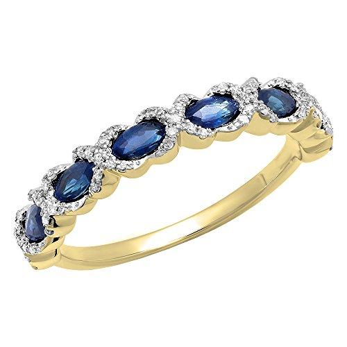 DazzlingRock Collection 10K Oro Marquise Corte Corte Redondo de Color Azul Zafiro y Blanco Diamante señoras Vintage Swirl Boda Banda