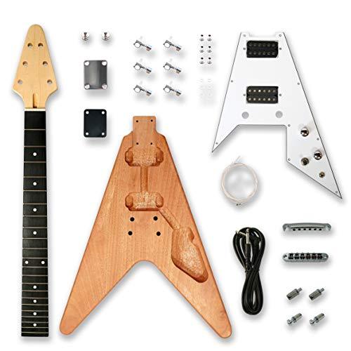 BexGears DIY Electric Guitar Kits for V Electric Guitar, okoume Body