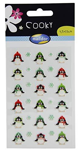 Maildor 560537O Packung mit Stickers Cooky 3D (1 Bogen, 7,5 x 12 cm, ideal zum Dekorieren, Sammeln oder Verschenken, Pinguine) 1 Pack