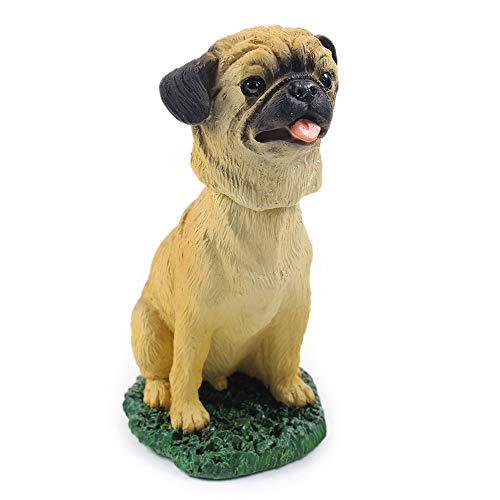 Animal Den Pug Fawn Dog Bobblehead Figure Toy for Car Dash Desk Fun Toy Accessory