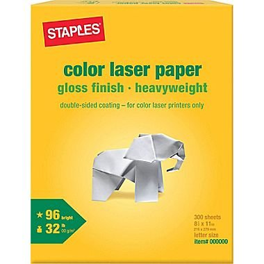 """Staples Color Laser Paper, 8 1/2"""" x 11"""", Glossy, 300/Pack"""