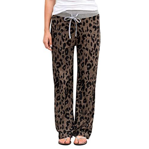 Zarupeng dames luipaard casual joggingbroek yogabroek comfortabele stretch hoge taille leggings losse wijde pijpen broek met trekkoord