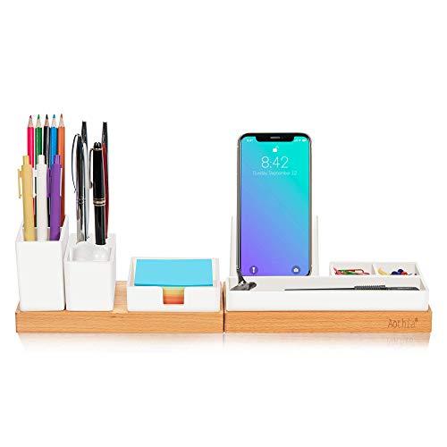 Aothia Organizer da scrivania con portamatite regolabile, supporto per telefono, vassoio per foglietti adesivi, portaoggetti per accessori da scrivania, organizzazione desktop per casa/ufficio(bianco)