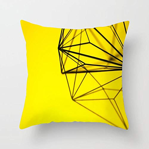 Cojines Funda de cojín Amarillo y Negro Throw Pillow Case Home Chair Sofa Decoration 40 × 40cm con núcleo de Almohada