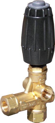 "B E Pressure AL607EZ VRT3 Unloader with Easy Start, Inlet : 3/8"" MNPT, Outlet : 3/8"" MNPT, Bypass : 3/8"" FNPT, 4500 psi, 8.0 GPM, 194 Degree F Temperature, Black/Brass"