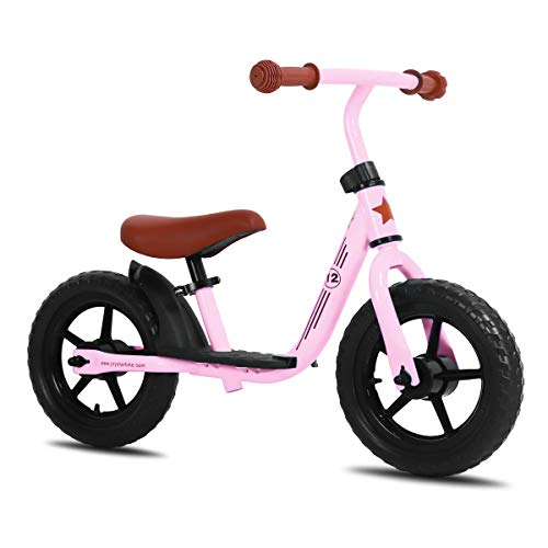 JOYSTAR 10 inch Balance Bike with Footrest for Child, Girls Glider Slider Bike, No Pedal Bicycle for 1 2 3 Years Children, Toy Gift, Pink