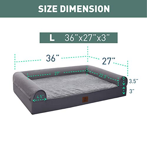 Eterish Large Orthopedic Dog Bed for Medium, Large Dogs up to 75 lbs, 3 inches Thick Egg-Crate Foam Bolster Dog Sofa Couch Bed with Removable Cover, Pet Bed Machine Washable, Grey
