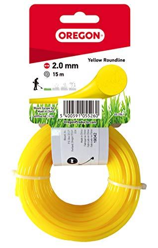 Oregon 69-356-Y Rasentrimmerfaden / Draht für Rasentrimmer und Freischneider, 2,0 mm x 15 m, Gelb