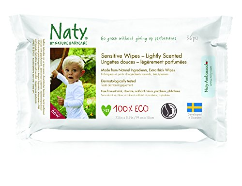 Eco by Naty Babycare, toallitas ecológicas para bebé con aroma ligero, 56 pañales
