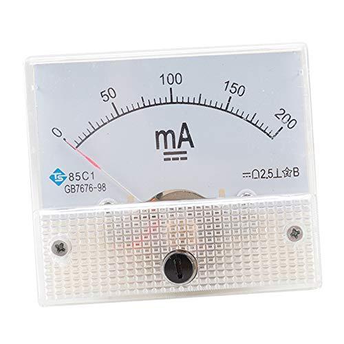 F Fityle Medidor de Panel de Corriente Analógica, Amperímetro de CC para Pruebas de Circuito, Medidor de Probador de Amperios, Rango de Medición Múltiple para - 0-200MA