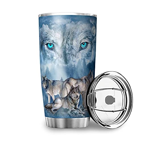 MiKiBi-77 Wolf on the Mountain - Vaso de acero inoxidable duradero aislado al vacío, fácil de limpiar, botella de agua para bebidas calientes y bebidas frías, color blanco, 20 onzas