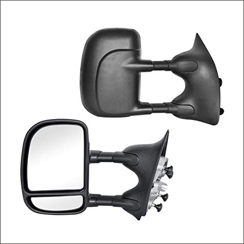 Perfit Zone Towing Mirrors Replacement Fit for 1999-2016 F-250 F-350 F-450 F-550 SUPER DUTY, MANUAL,W/O HEATED,W/O SIGNAL,BLACK (PAIR SET)