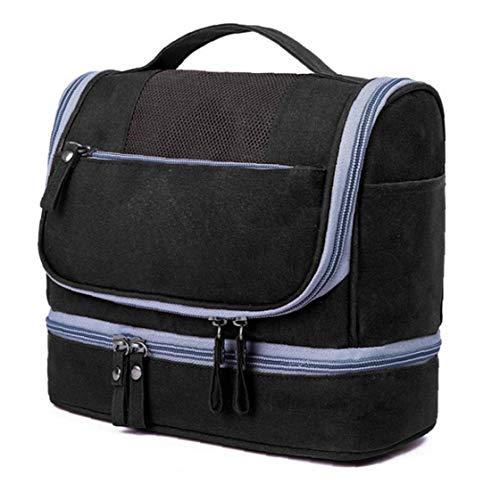 Neceser para colgar artículos de tocador Organizador cosmético del bolso impermeable Dop Kit de gran capacidad en seco y en húmedo Separación bolso de la colada de alimentación (Negro) Belleza