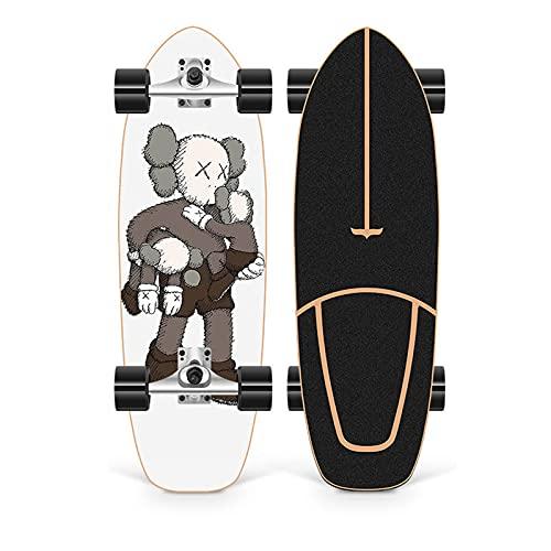XKAI Surf Skates Skateboard CX4 Tabla Completa 75×23cm Fancy Board Longboard Pumping Deck Madera de Arce para Adultos Principiantes, Rodamientos ABEC-11