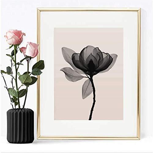 Arte de la pared de la lona 40x60cm con marco Pintura de la lona del loto negro simple Arte de la pared de la flor Posters e impresiones Dormitorio para la sala de estar Decoración del hogar
