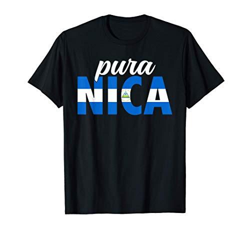 Pura Nica Bandera de Nicaragua Orgullo Nicaragüense Camiseta