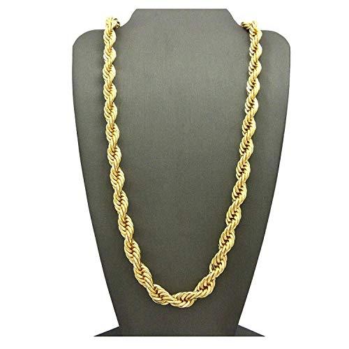 Dubai Collections - Cadena de cordón de oro de 24 quilates, de 7 mm; para llevar sola o con colgantes